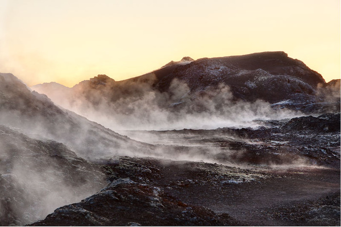 A sunrise of a geothermal area near the tourist town of Myvatn in Iceland