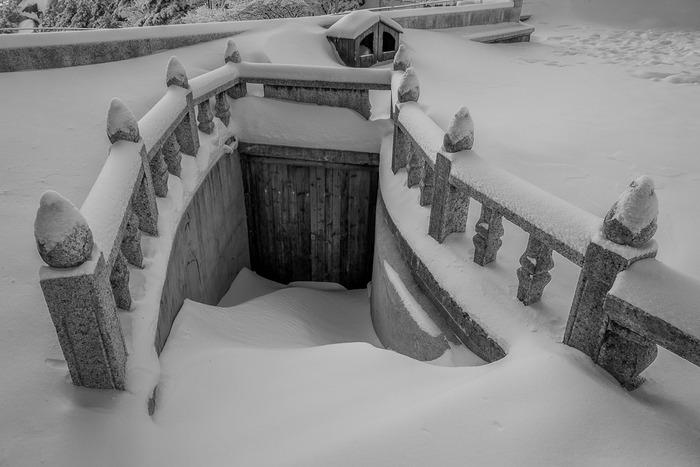 deep snow blocking doorway on mountain top, Huangshan (Yellow Mountain) in Eastern China