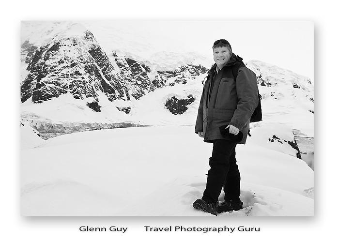 Glenn Guy, the Travel Photography Guru, on hilltop above Paradise Harbour, Antarctic Peninsular