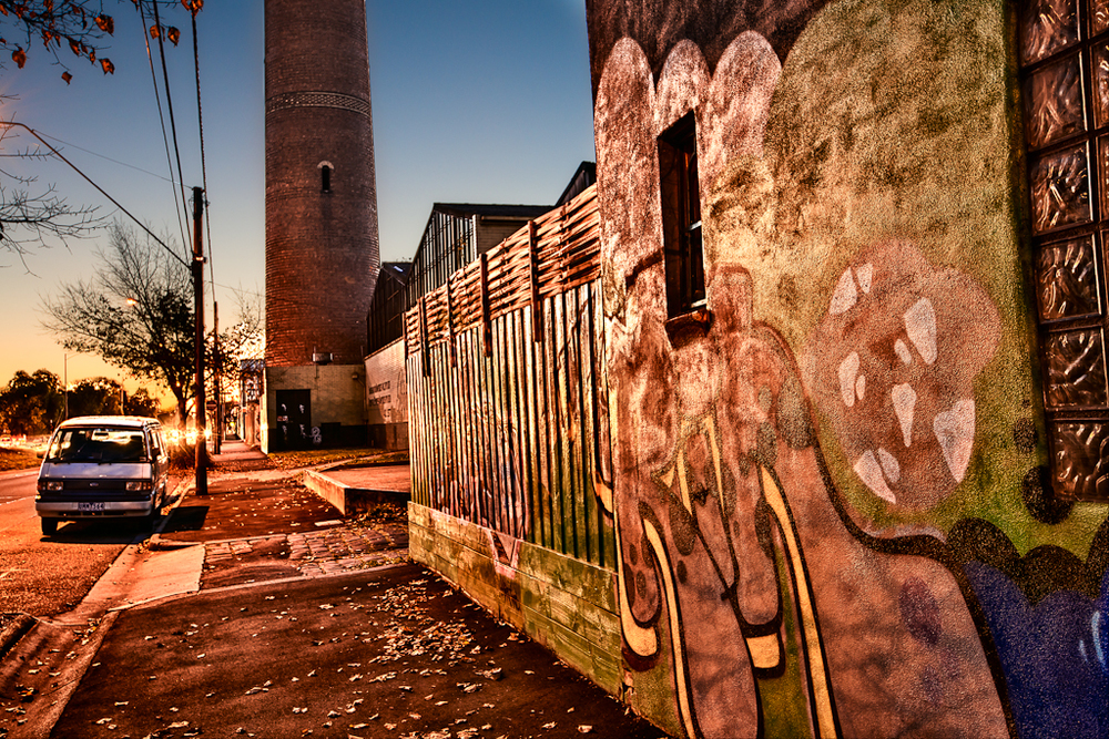 Inner city scene at twilight in North Fitzroy, Melbourne