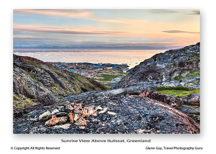 Sunrise view looking down onto Ilulissat, Greenland