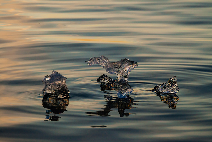 Tiny ice particles floating on the water's surface on a midnight zodiac cruise at Jokulsarlon lagoon Iceland