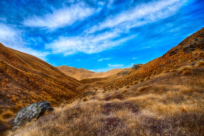 Warm colored grasses and a beautiful, blue sky on the Crown Range between Queenstown and Wanaka on the South Island of New Zealand
