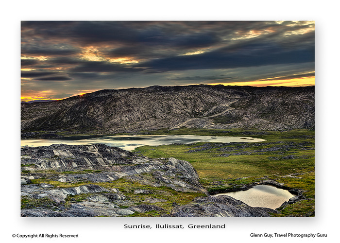 Sunrise of mountains and tarns above Ilulissat, Greenland