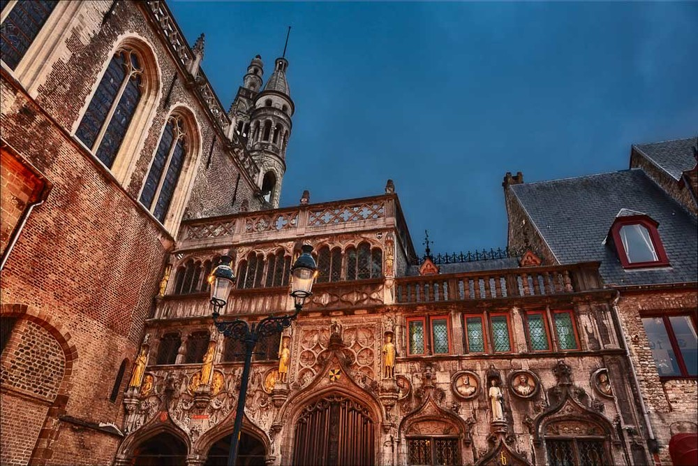 The historical grandeur of Brugge, Belgium as night descends