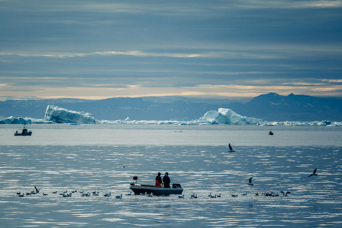 Fisherman in the Ilulissat Fjord, Greenland during the time of the midnight sun