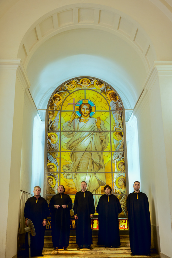 Singing monks at Saint Peter and Paul Cathedral in St. Petersburg, Russia