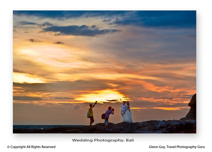 Wedding photography at sunset with fill flash in Bali, Indonesia