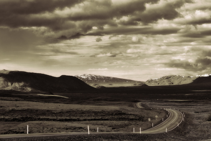 Iceland's Highway 1 cutting its way through the landscape as it takes tourist around this beautiful country