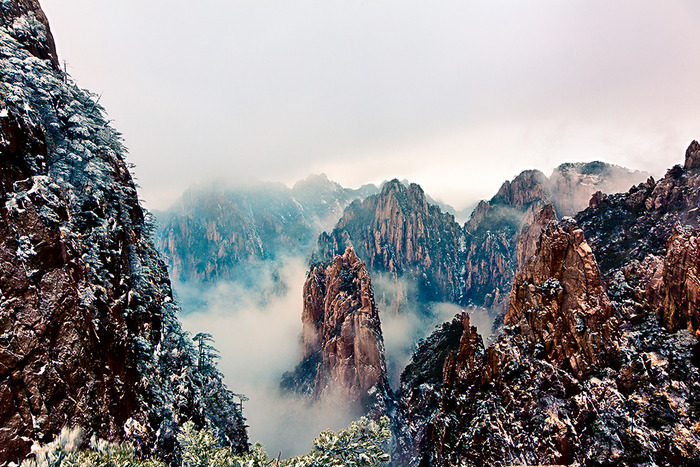 Beautiful mountain tops and mist on Huangshan or Yellow Mountain, China