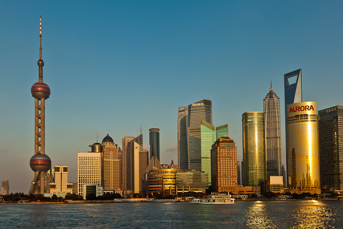 View of skyscrappers across the Huangpu River in Shanghai, China