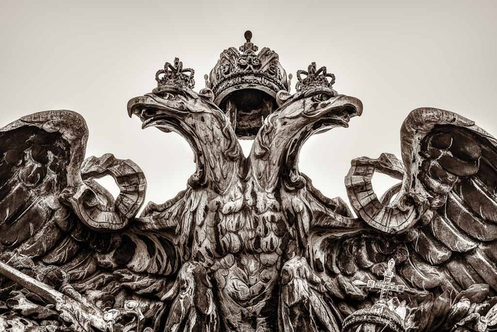 Sculpture of two eagles and crown in Vienna, Austria