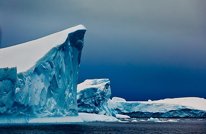 A beautiful photo of a mournful scene. Icebergs in Antarctica