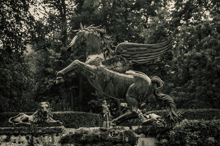 Pegasus and lion statues, mirabell gardens, salzburg, austria
