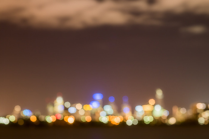 City lights from Altona Beach, Melbourne, Australia