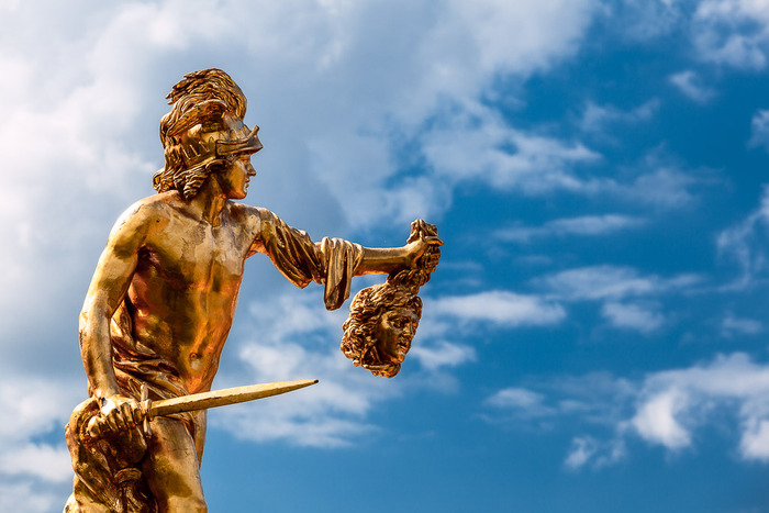 statue of warrior holding severed head at Peterhof Palace, St. Petersburg, Russia