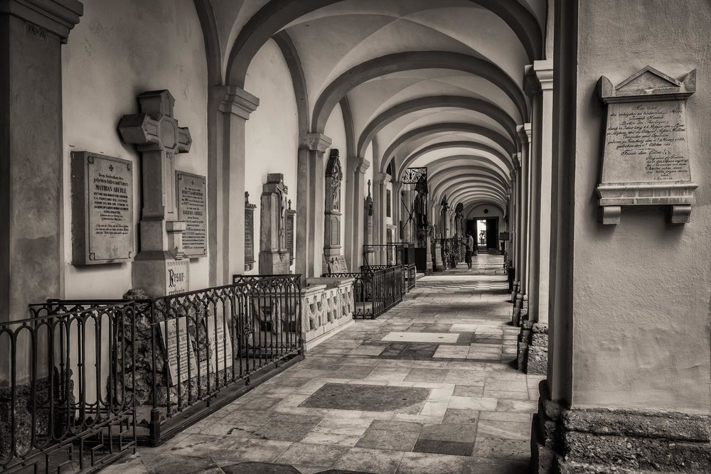 An exploration of tonality down an open corridor at the St. Sebastian Cemetery, Salzburg, Austria