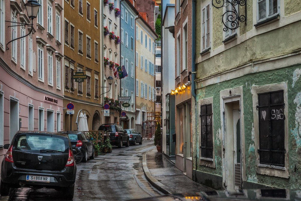 Side street on a rainy day, Salzburg, Austria. Canon 5D Mark II camera and Canon 24-105mm f4 L series lens