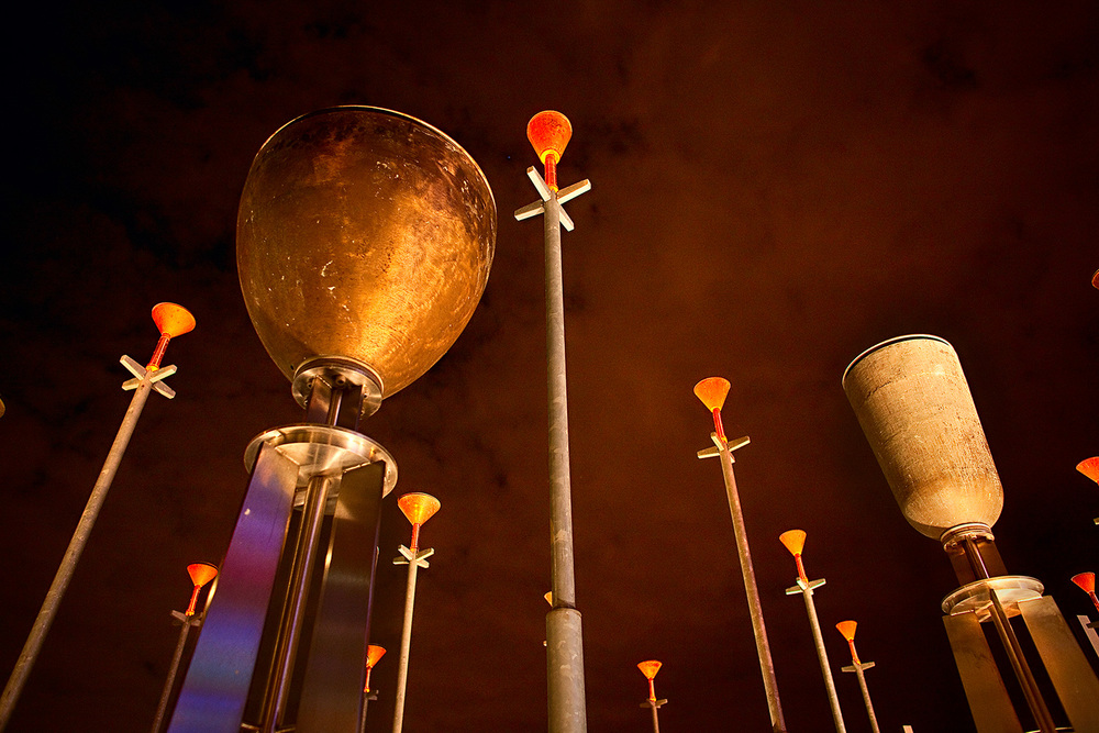 Night photo of Federation Bells at Birrarung Marr, Melbourne
