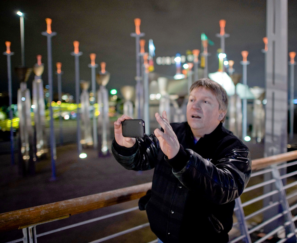 That's me, hamming it up for the cameras at a Night Photography Workshop in Melbourne, Australia