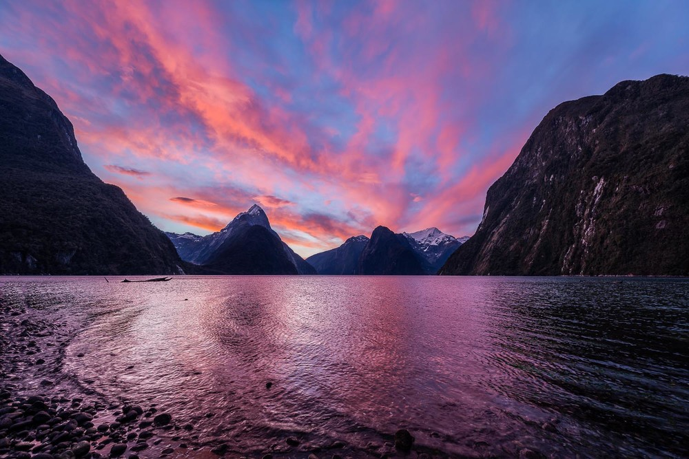 Sky, Milford Sound, New Zealand