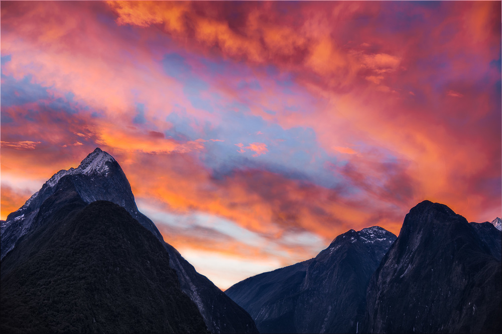 Sunset, Milford Sound, New Zealand