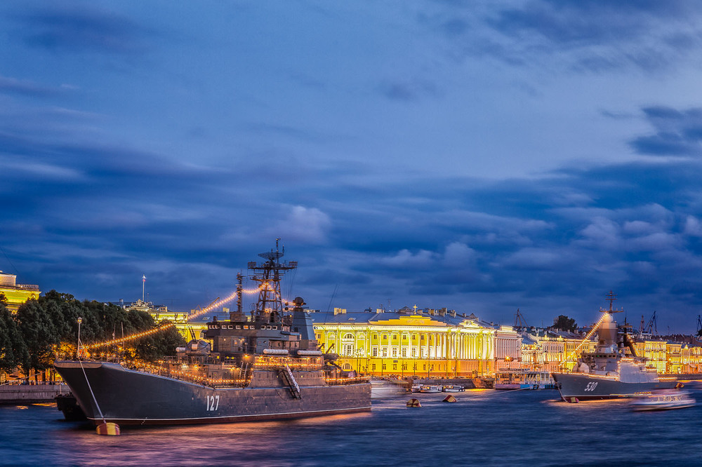 Battleships on the River Neva, St. Petersburg, Russia