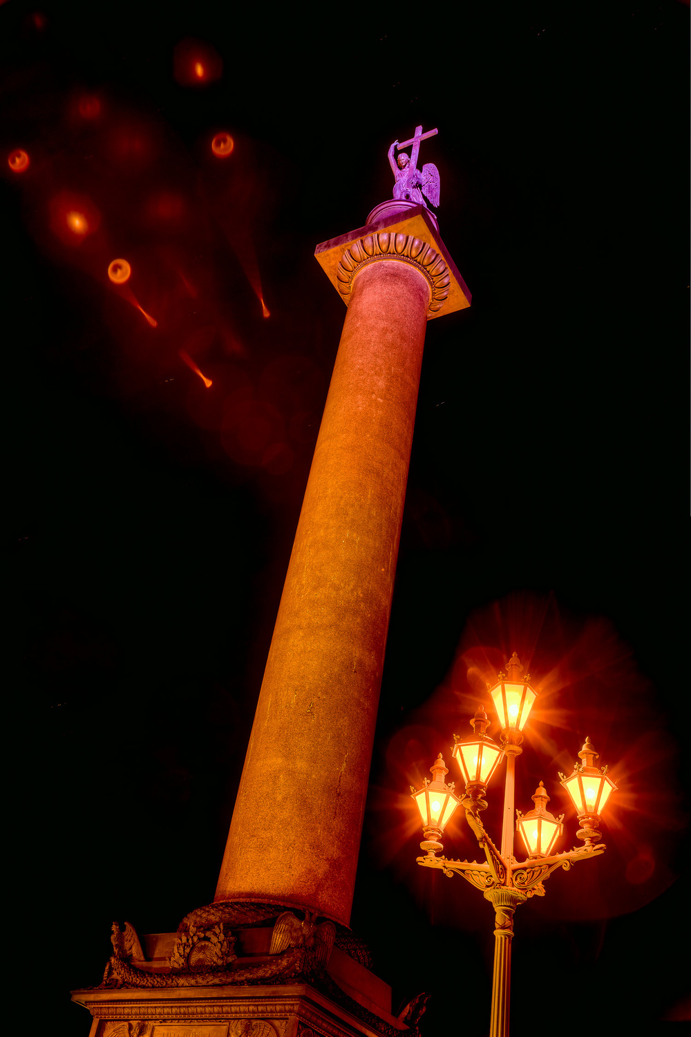 Alexander Column at Night, Palace Square, St. Petersburg
