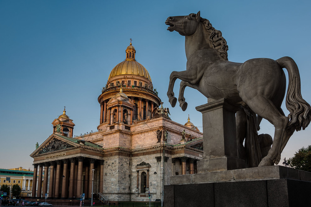 Horse Sculpture and St. Isaac's Cathedral, St. Petersburg, Russi