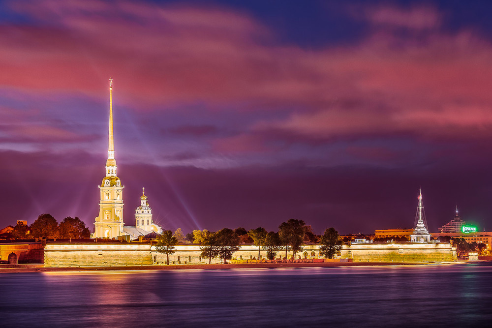 Night, Peter and Paul Fortress, St. Petersburg, Russia
