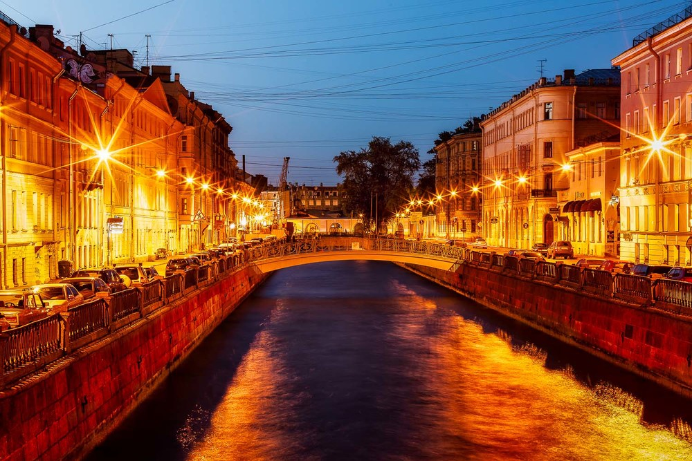 Night Lights and Canal, St. Petersburg, Russia