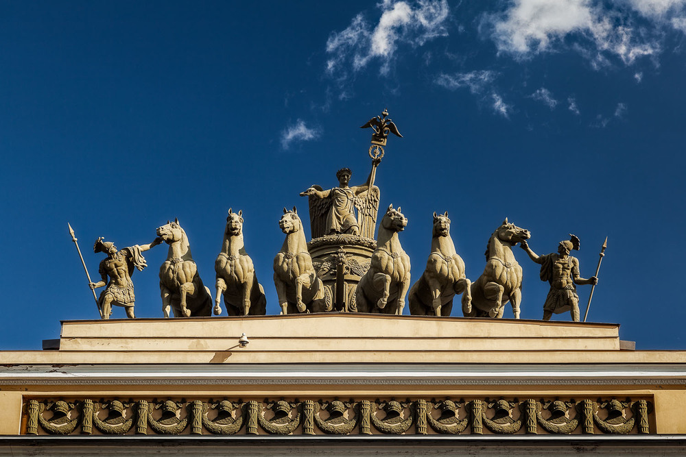 Statues, Palace Square, St. Petersburg, Russia