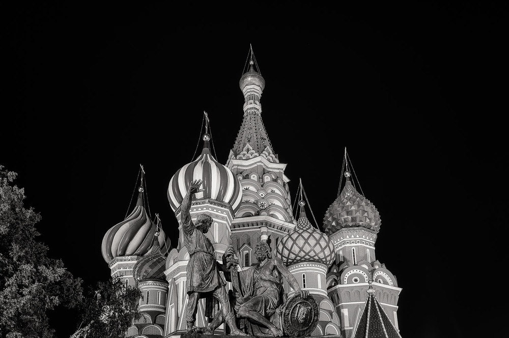 Statue and St. Basil's Cathedral, Moscow, Russia
