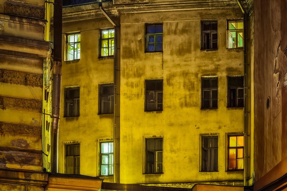 Windows at Night, St. Petersburg, Russia