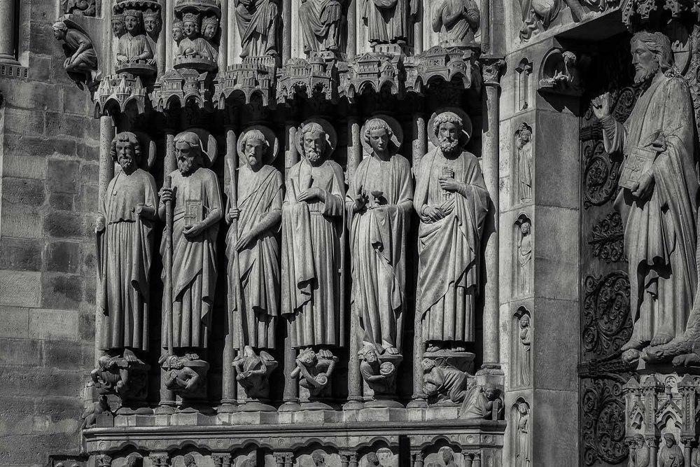 Statues, Exterior, Notre Dame Cathedral, Paris