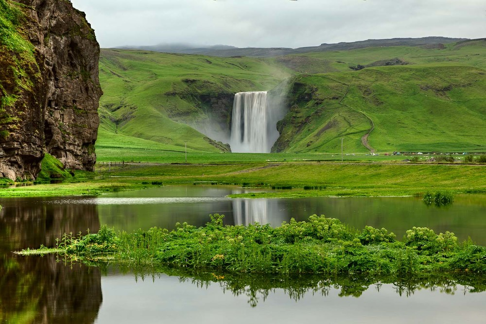 Skógafoss Waterfall and Pond, Iceland