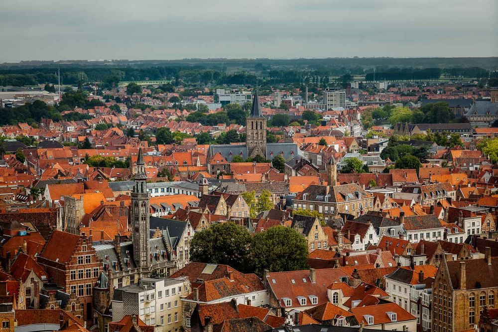 The UNESCO World Heritage classified old town of  Bruges  is one of my favorite cities. While it photographs very well in black and white, a view of the town from the Belfry at the top of the  Bell Tower  may be best in color.