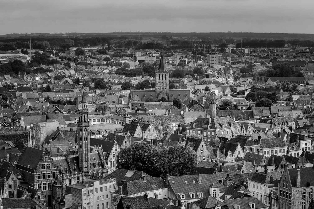 The UNESCO World Heritage classified old town of  Bruges  is one of my favorite cities. This  black and white  view was made from the  Belfry  at the top of the  Bell Tower .