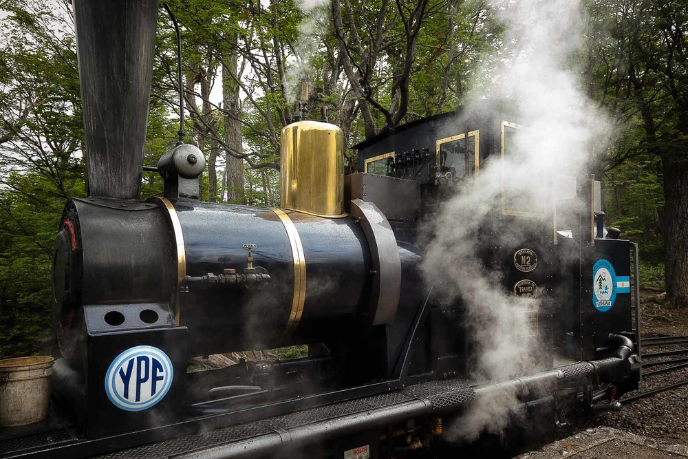 The engine of a lovely steam train in the Tierra del Fuego National Park, Argentina.