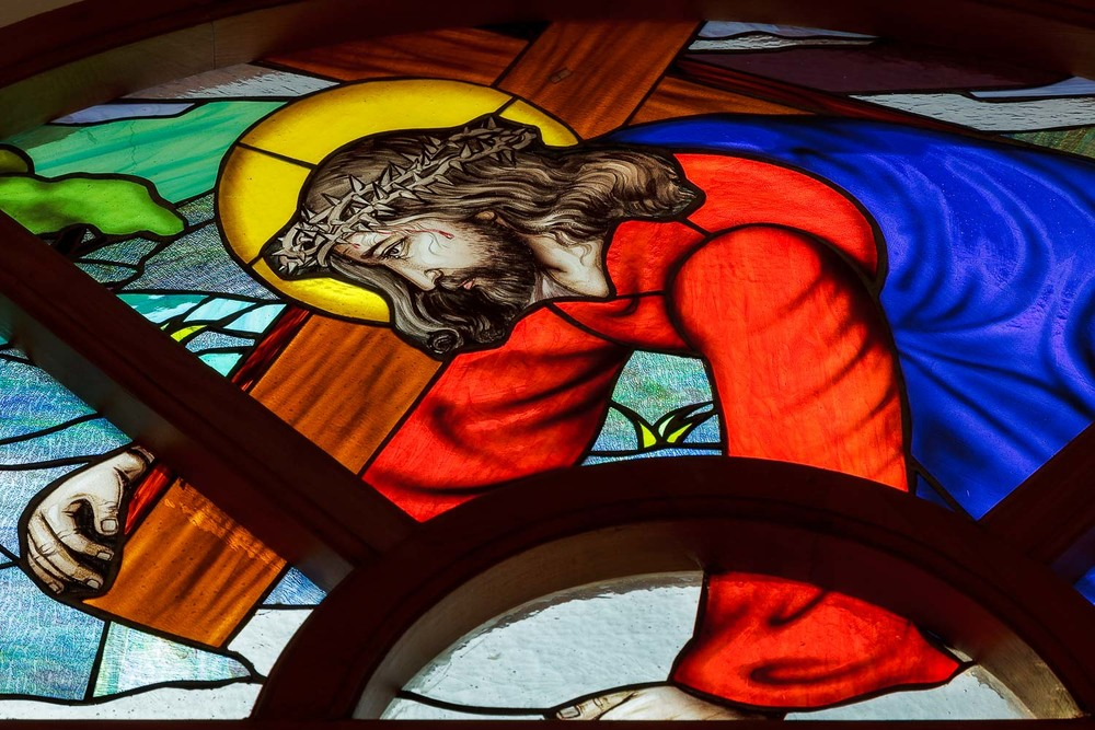 A beautiful stain glass image of  Jesus Christ  in a church in  Chennai ,  India .