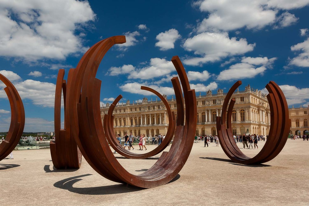 Contemporary sculpture in the grounds of the Palace of Versailles, France.