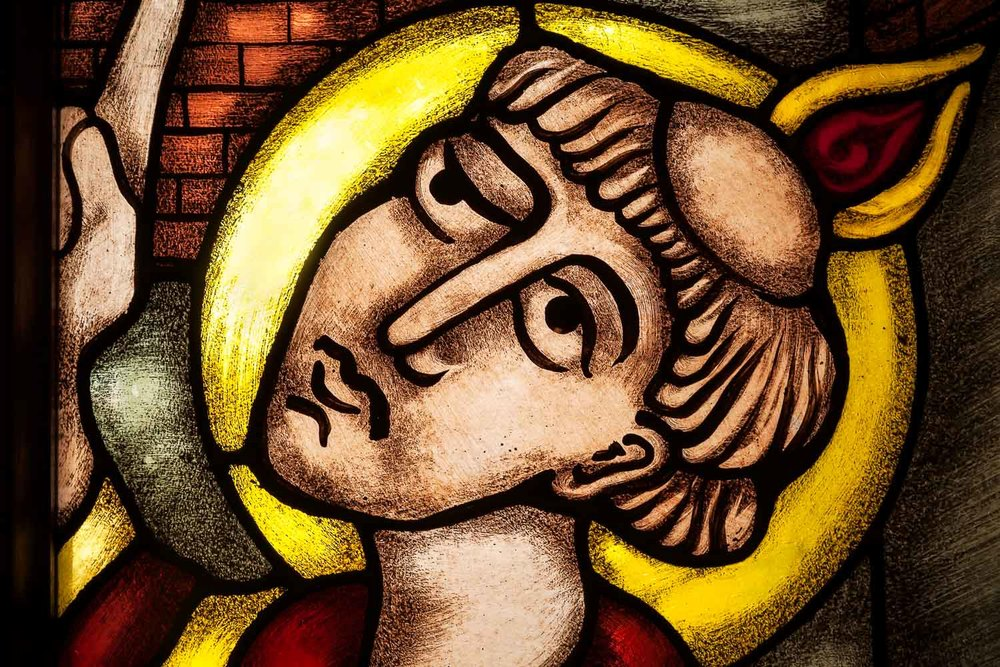 A stunning detail from a stained glass window in St. Mary's Catholic Church in Hamilton, Australia.