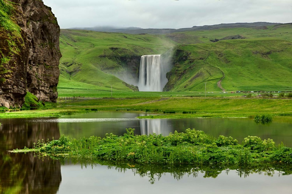 Skogafoss  seen from a distance during my initial exploratory tour around  Iceland .