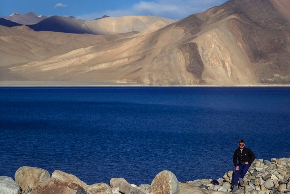 Glenn Guy , the owner and primary content producer of the  Travel Photography Guru  site on an early expedition to  Pangong Tso  (i.e., Pangong Lake) in  Ladakh,  northern  India .