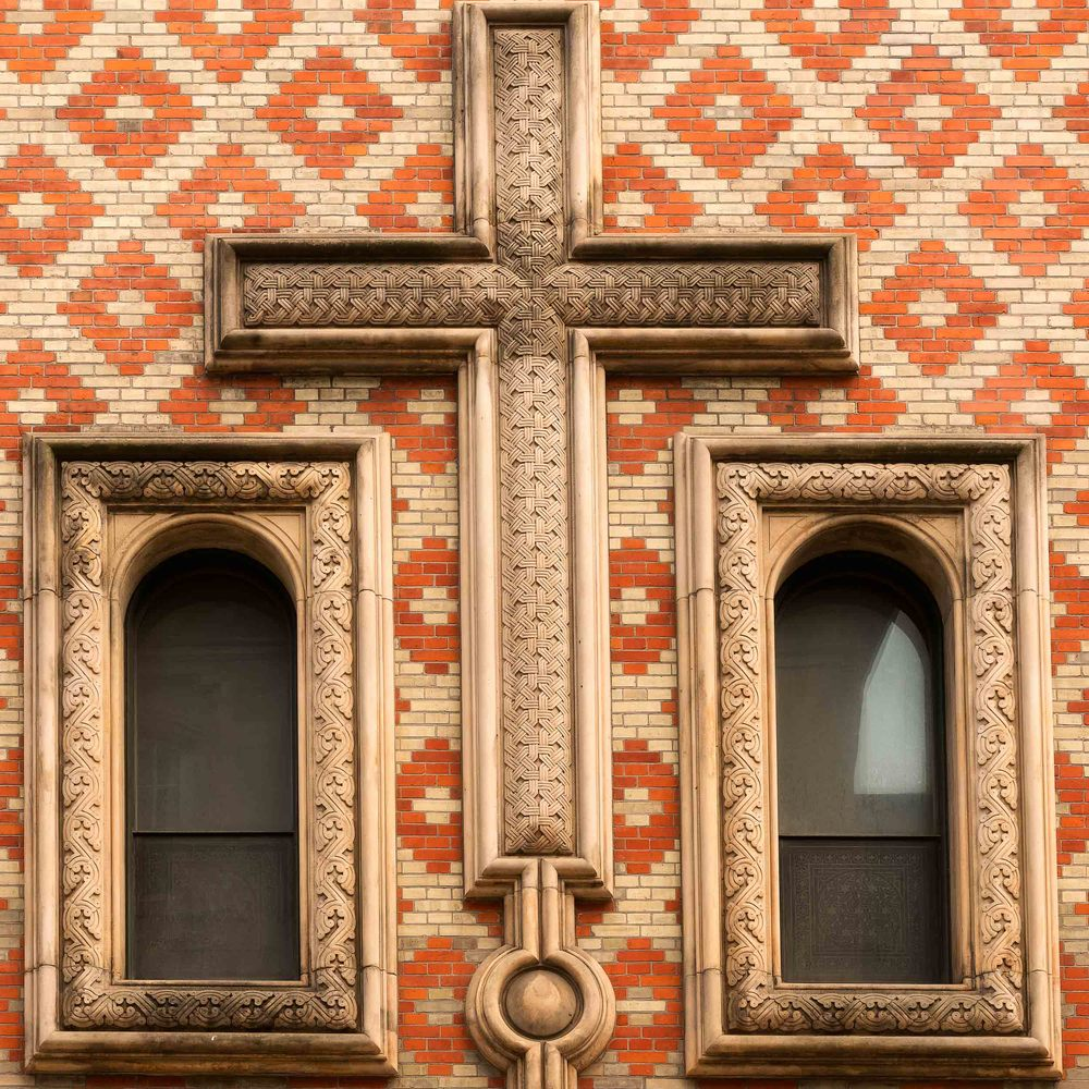 A  crucifix  on the facade of the  Alexander Nevsky Church  in  Copenhagen, Denmark