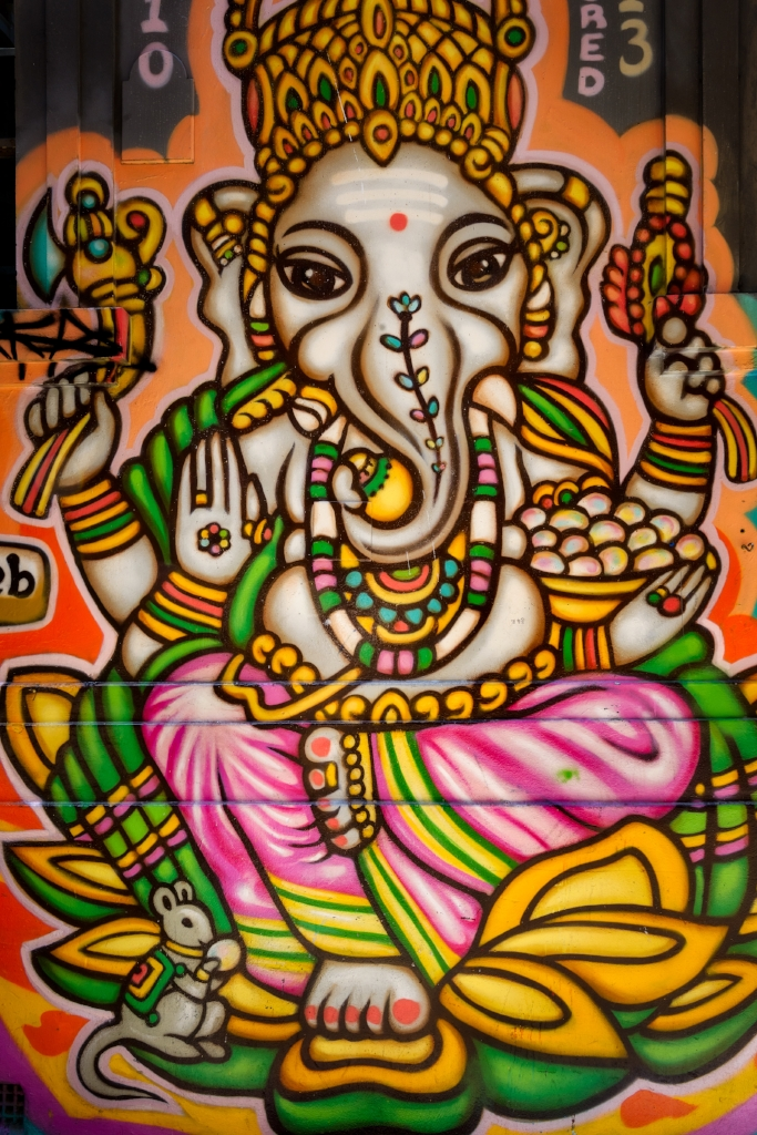 A beautiful street art image of the Hindu god Ganesh in Hosier Lane, Melbourne.