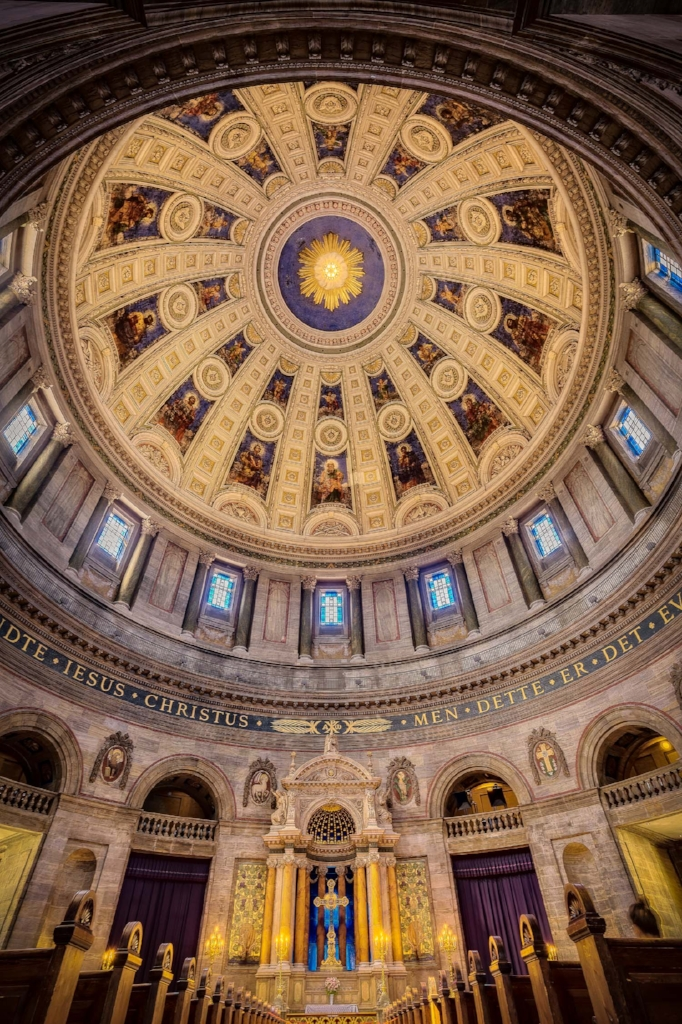 An interior view of the    dome and altar    at the magnificent    Frederik's Church   , also known as the    Marble Church   , in    Copenhagen, Denmark   .