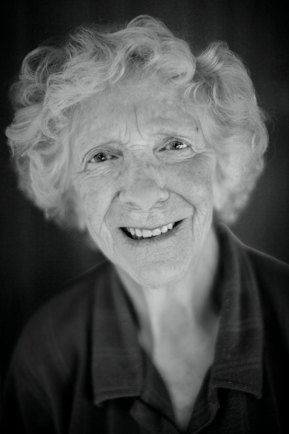 My mother, Mary Guy, in Hamilton in 2011. The photo was made with a Canon 5D Mark II camera and Canon 50 mm  f/ 1.2 L series lens. Exposure details are 1/160 second @  f/ 1.2 at ISO 100.