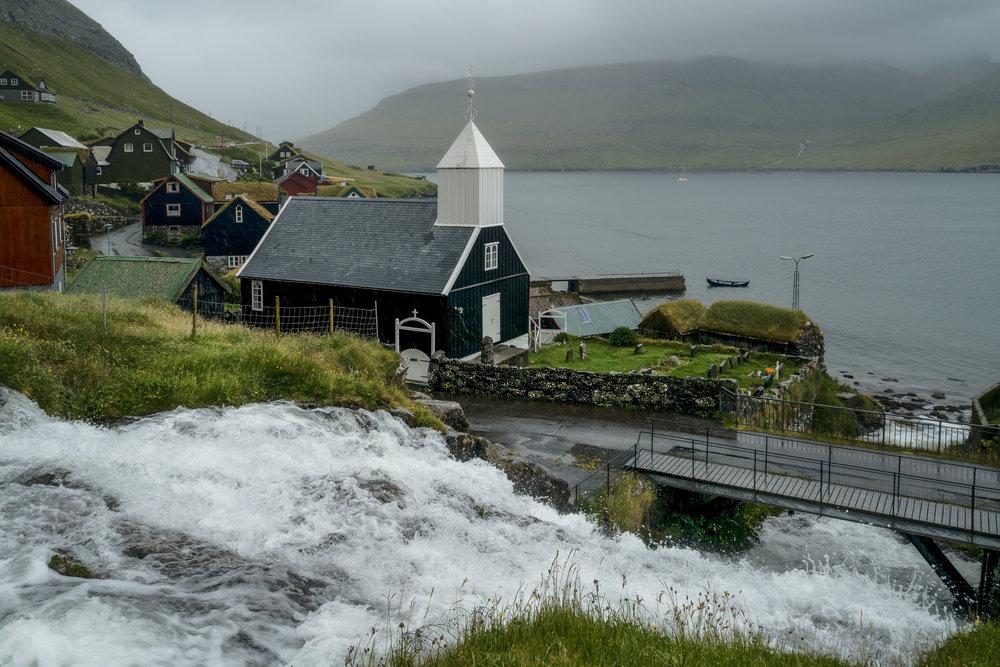 Waterfall and Church, Bøur, Faroe Islands