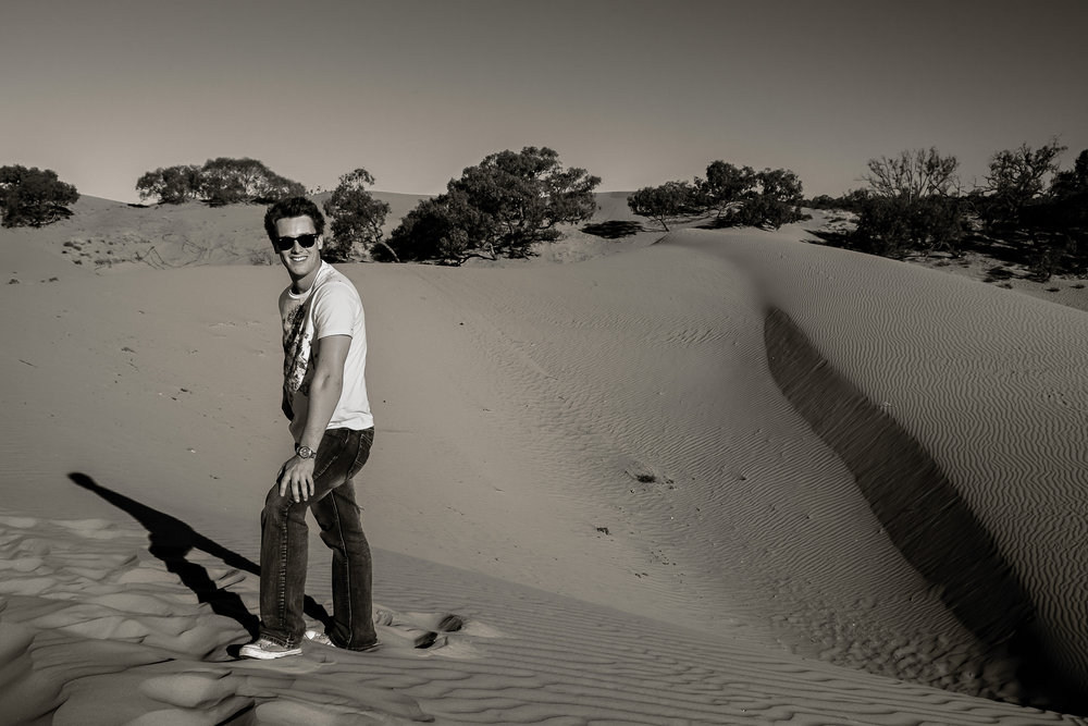 Guitarist and teacher    Patrick David Gray    amonst the long shadows and soft light at the    Perry Sandhills    in NSW,    Australia   .